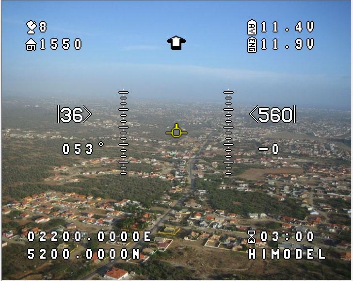 Widok z modelu FPV. Na obraz z kamery, OSD nakłada podstawowe informacje o modelu.
