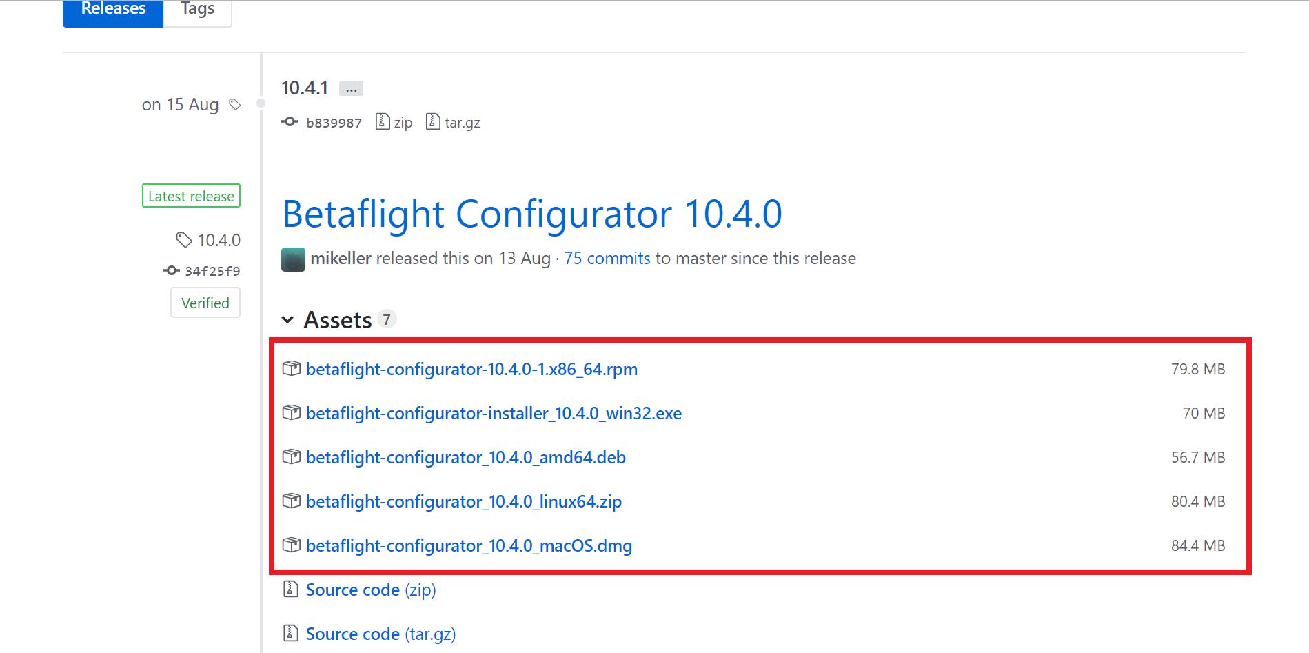 Pliki instalacyjne do ściągnięcia Betaflight dla FC w dronie.