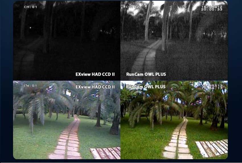 porównanie RunCam Owl Plus vs zwykła CCD
