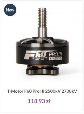 Silnik F60 PROIII z T-Motor to świetna propozycja do modeli wyścigowych i racer'ów zwłaszcza w wersji 2700kV