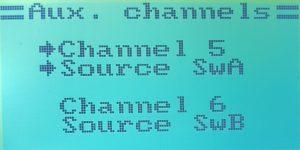 W zakładce Aux channels przypisujemy przełączniki do kanałów.