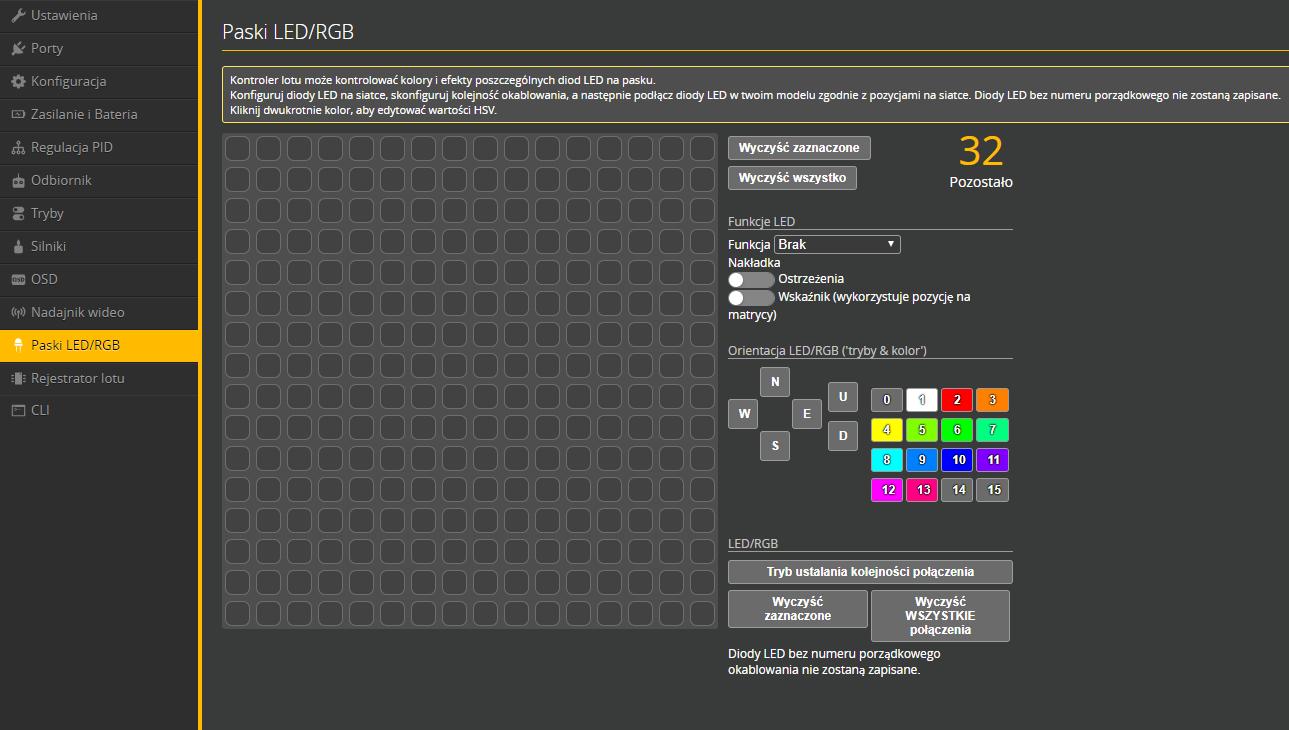 Panel konfiguracyjny oświetlenia LED Betaflight