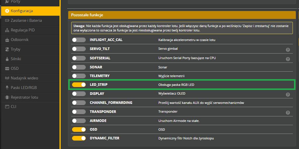 Włączona funkcja LED_STRIP w Betaflight