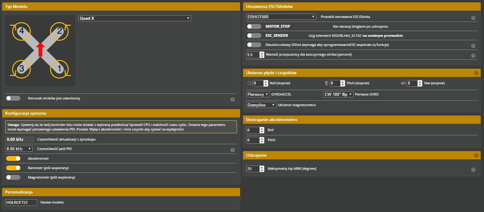 Dzięki kompatybilności kontrolera lotu Zeus F722 z popularnym oprogramowaniem Betaflight konfiguracja z wykorzystaniem konfiguratora dostępnego w języku polskim przebiega szybko i bezproblemowo.