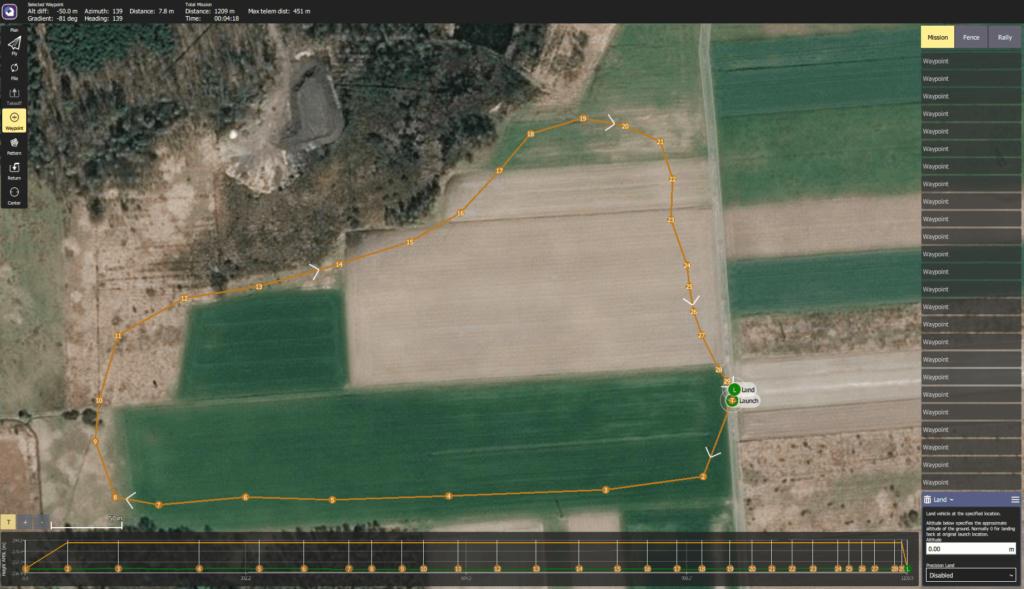 Przykładowa trasa wyznaczona dla modelu latającego opartego na Pixhawk
