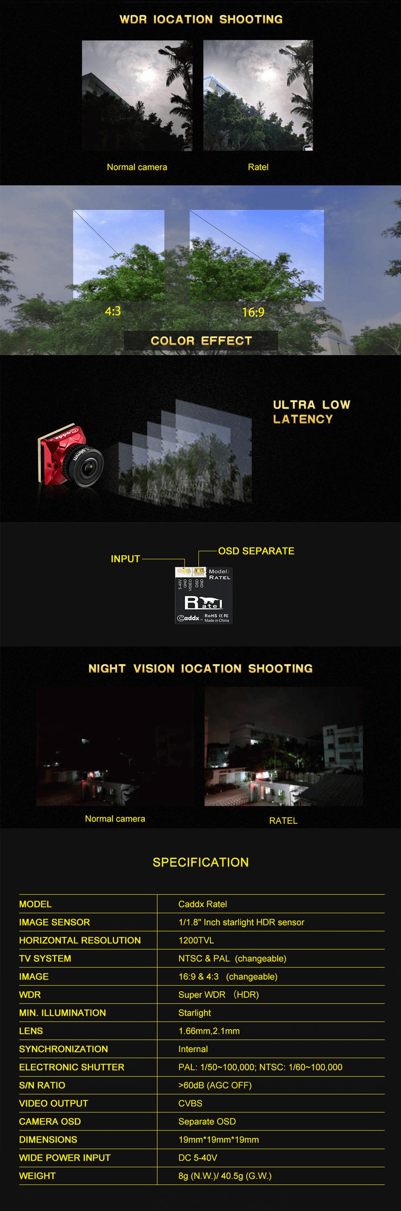 Caddx Ratel bardzo lekka kamera o niezwykłych parametrach.