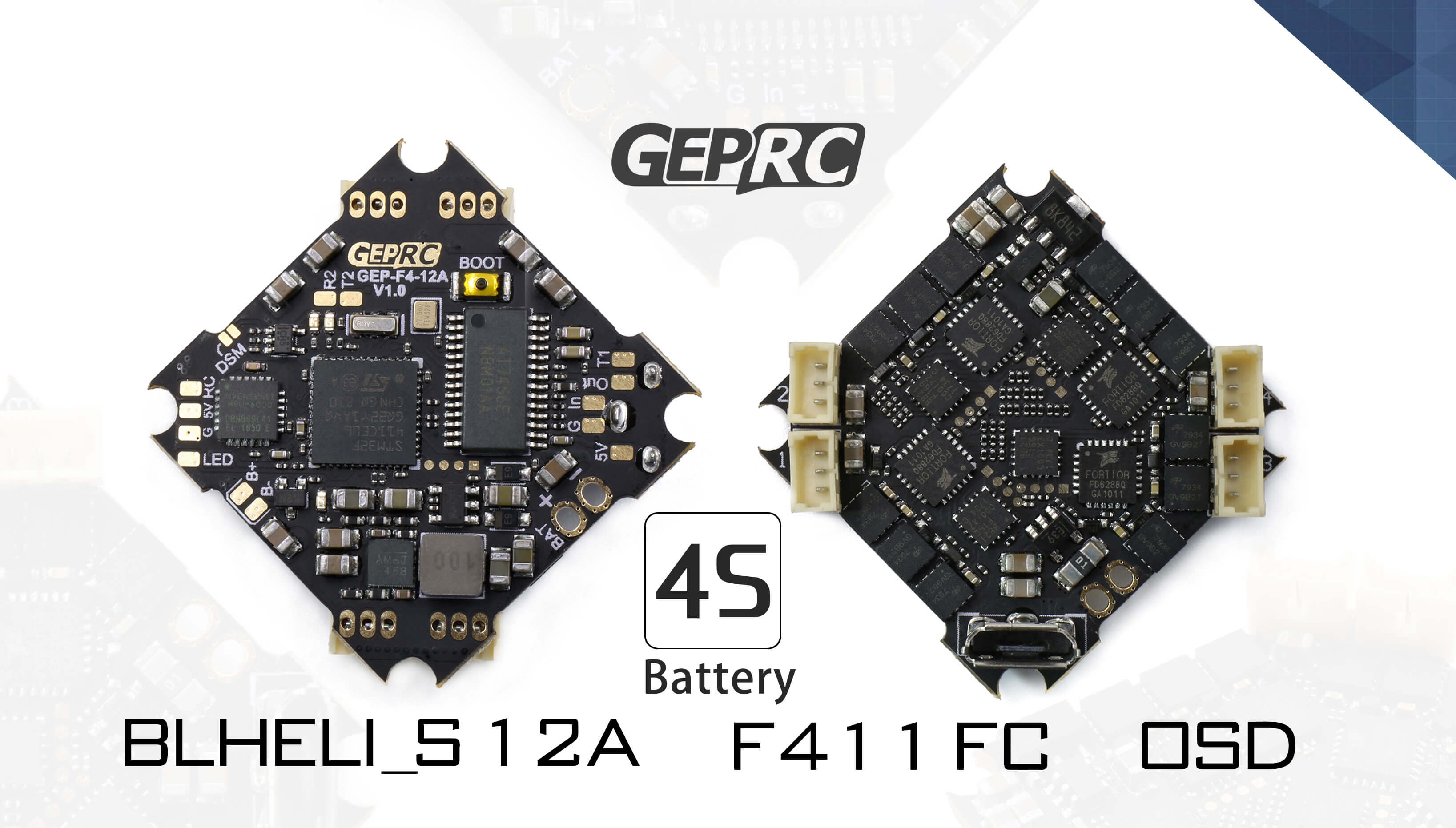 Kontroler lotu zdolny do obsługi baterii 4s, posiada wbudowane ESC zdolne wytrzymać prąd ciągły 12A