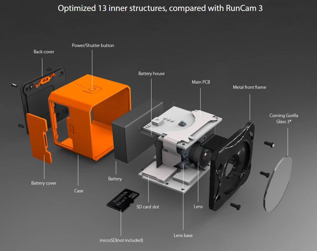 Modułowa konstrukcja kamery RunCam 3S sprawia, że jest łatwiejsza w serwisowaniu i naprawach.