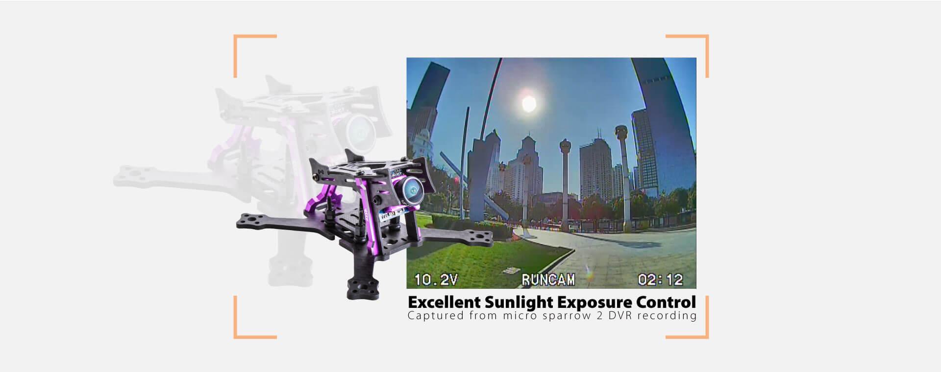 Kamera RunCam Micro Sparrow 2 z świetną ekspozycją pod słońce.