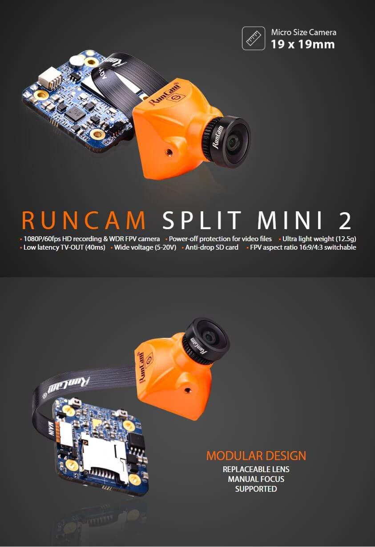 Kamera FPV z funkcją nagrywania w jakości FullHD i możliwością montażu w dronie RunCam Spli Mini 2 o rozmiarze 20x20