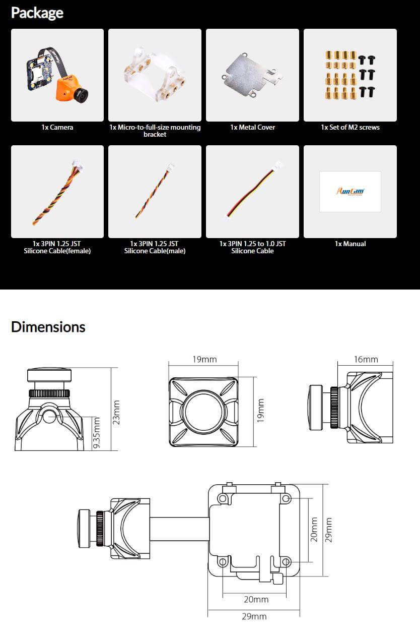 Wymiary i rozmiar kamery Split Mini 2