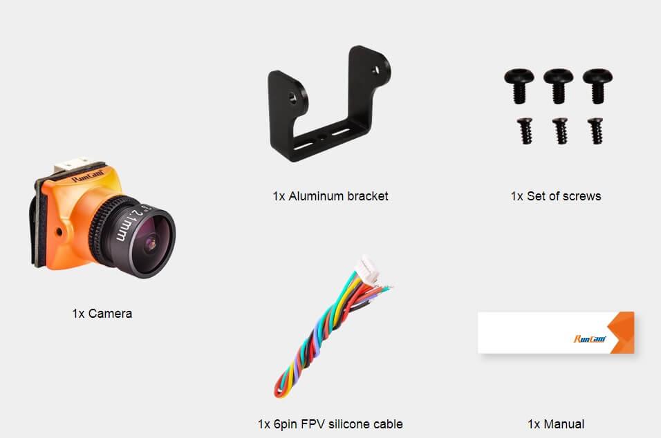 W skład wchodzi: Kamera RunCam Micro Swift 3 oraz okablowanie i uchwyty.