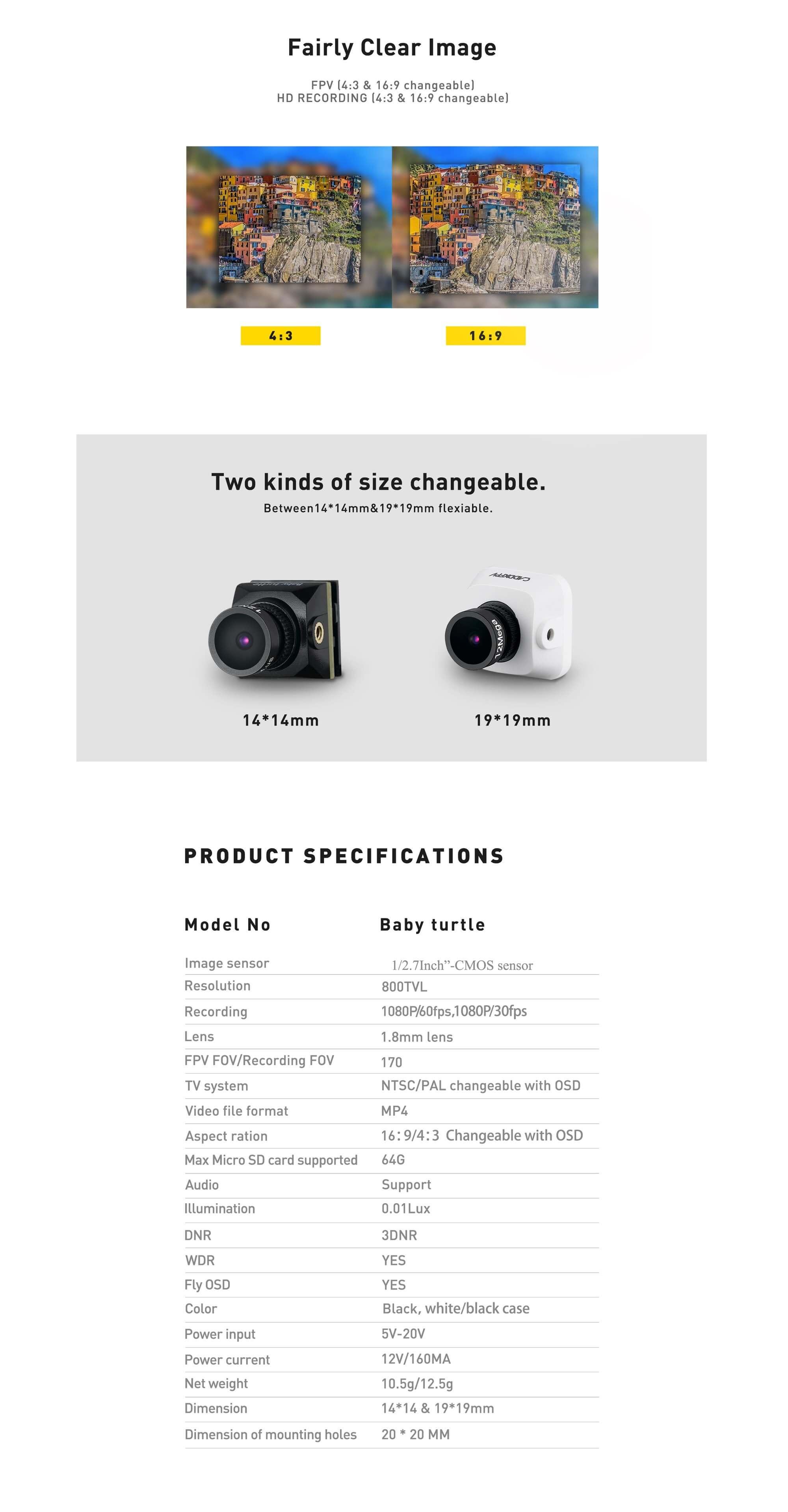 Kamera FPV pozwalająca dodatkowo nagrywać w wysokiej jakości 1080P/60FPS