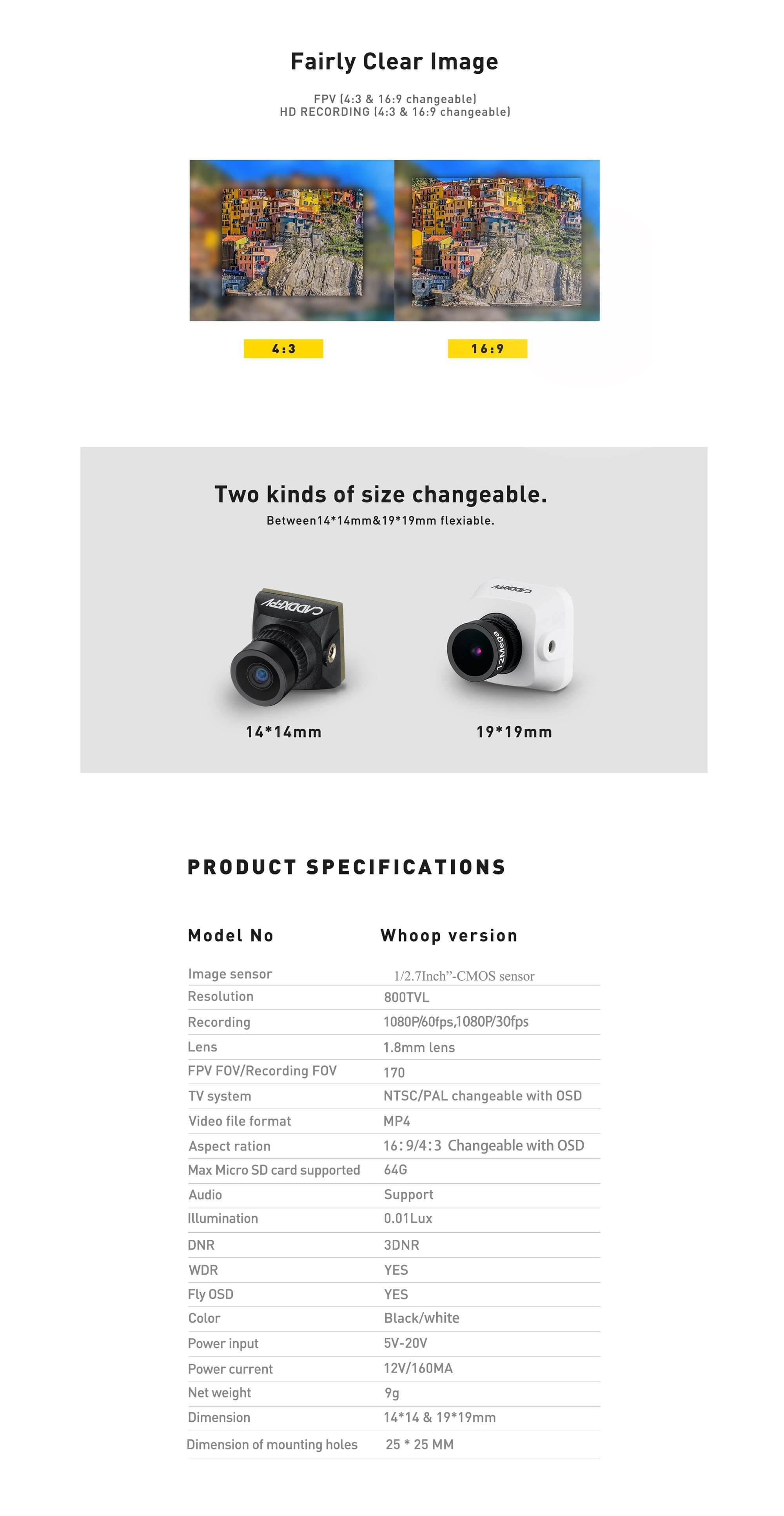 Specyfikacja kamery Caddx Baby Turtle Whoop