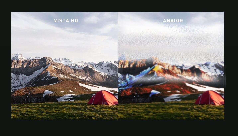 Porównanie systemu cyfrowej wizji Vista HD oraz analogowej