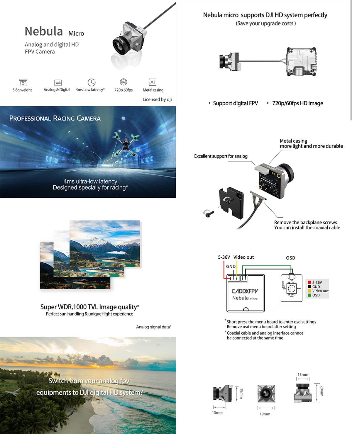 Kamera do drona Caddx Nebuma Micro pod system DJI