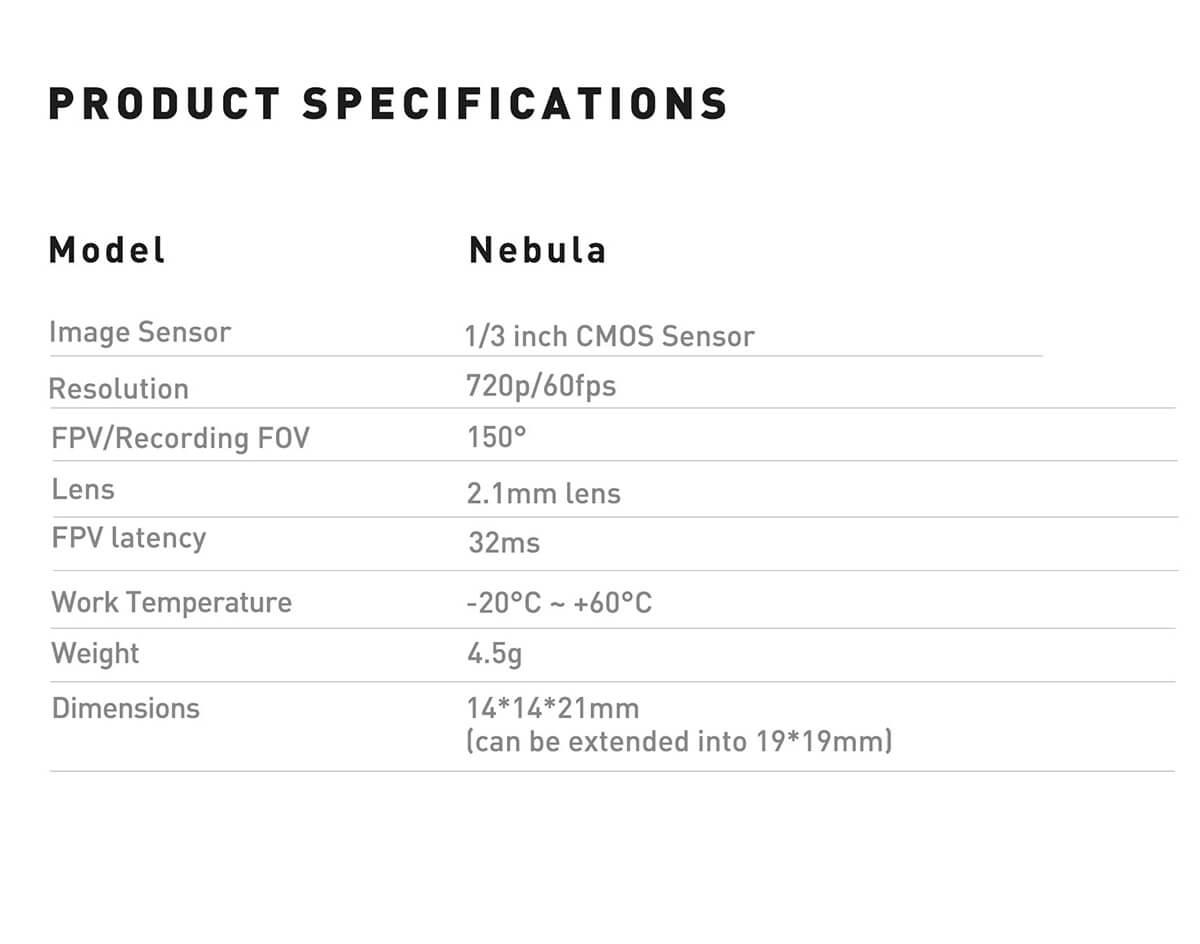 Nebula Nano kamera caddx do drona
