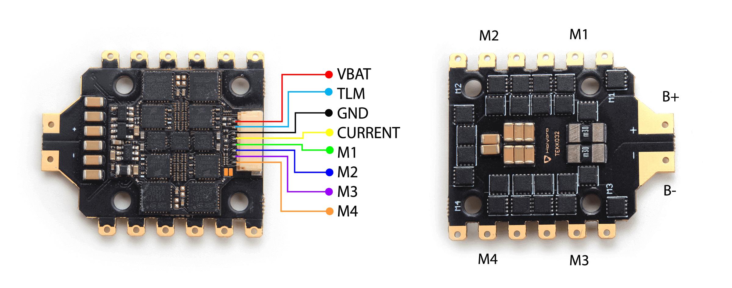 Schemat podłaczenia ESC tekko32 do drona wyscigowego