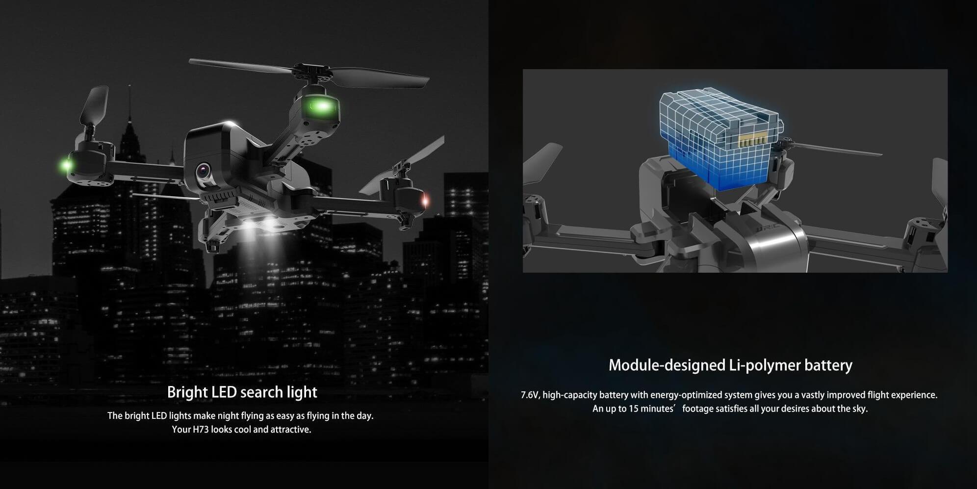 JJRC H73 dron opis baterii oraz wbudowanych świateł LED