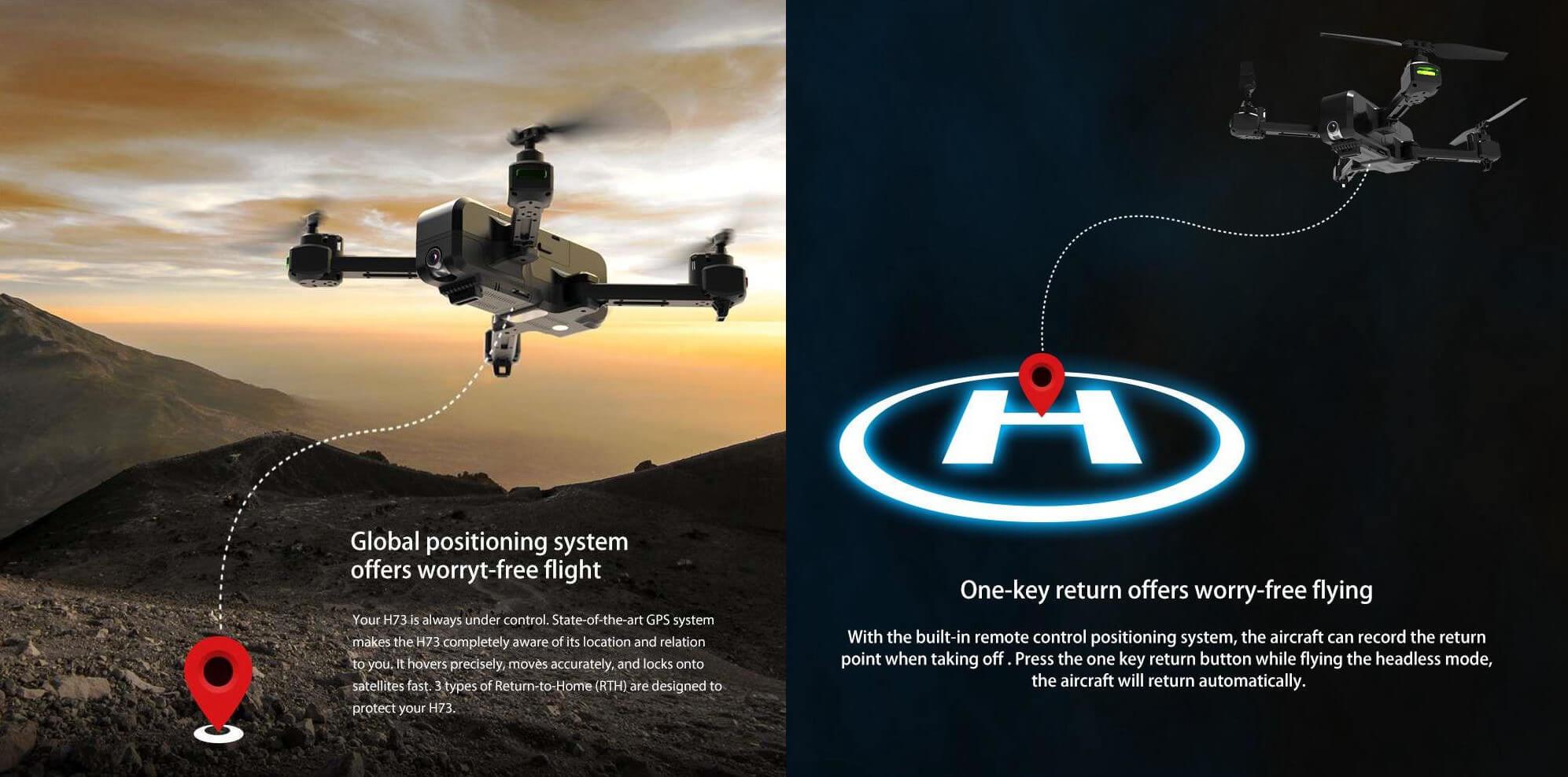 Dron FVP JJRC H73 - opis funkcji GPS oraz przycisku Return to Home