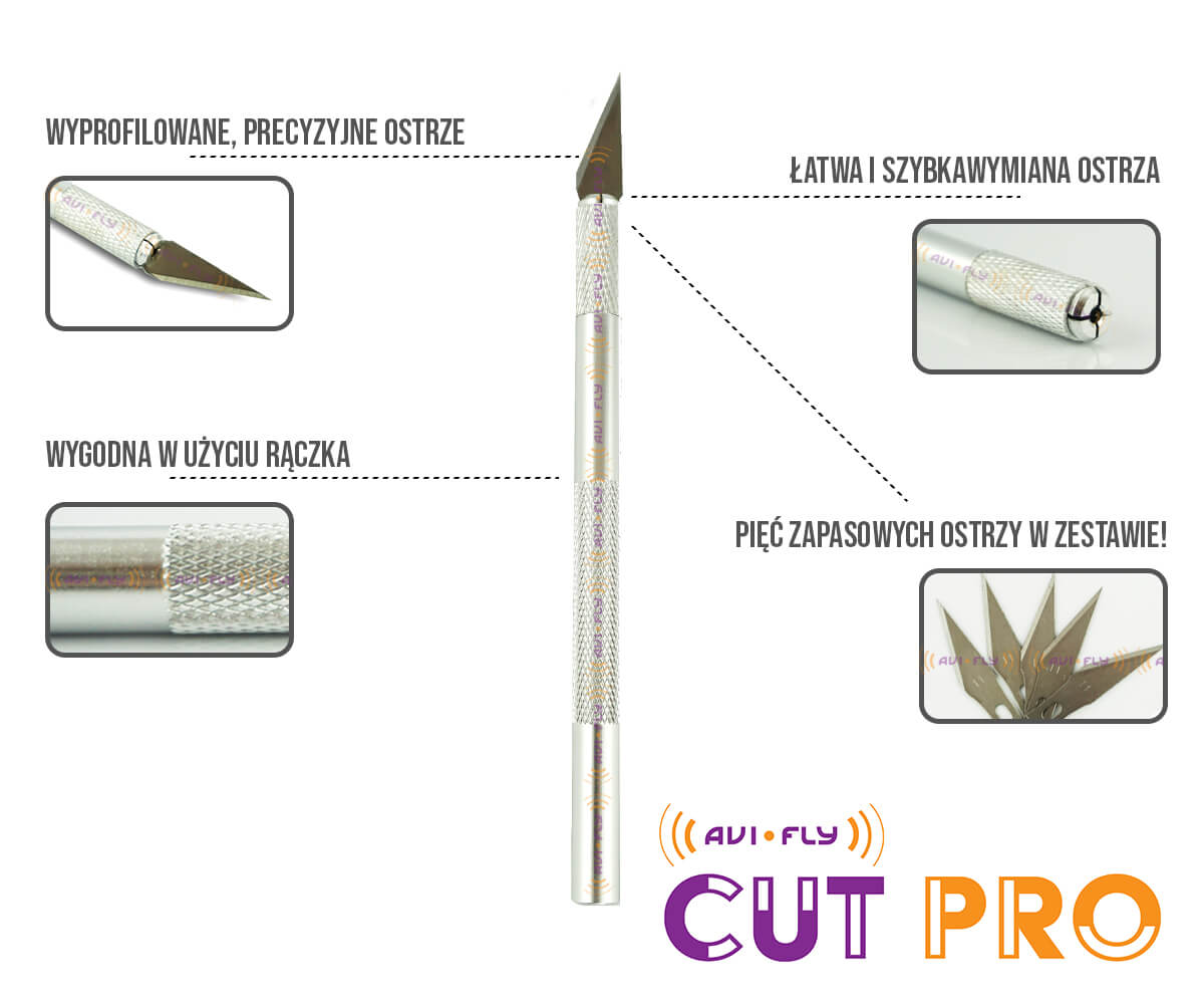 Skalpel nóż modelarski Avifly Cut Pro infografika