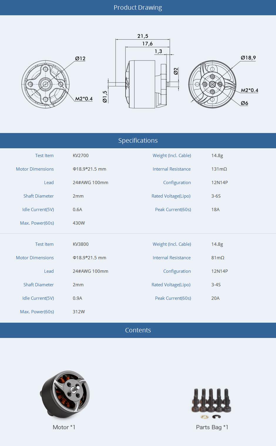 Specyfikacja i wymiary silnika F1507 t-motor