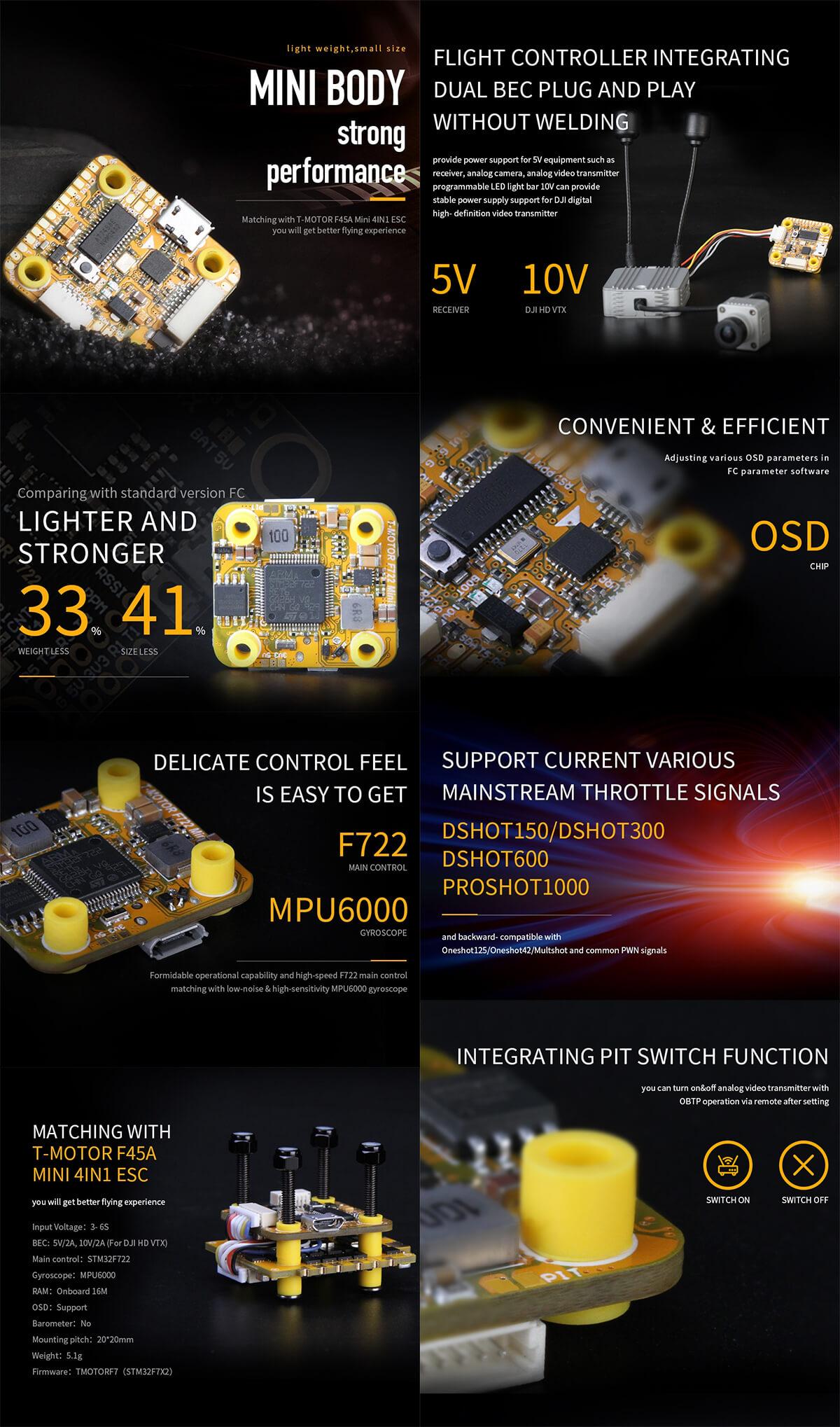 FC MINI F7 (HD +OSD +VTX SWITCH) T-MOTOR