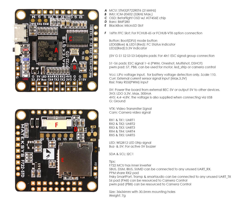 FC Matek F722-STD z procesorem F7 zapewni największą moc obliczeniową