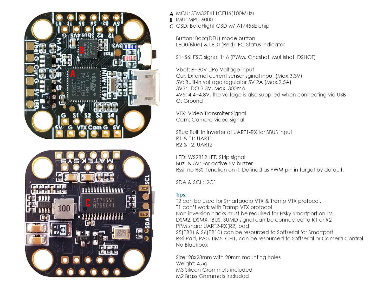 Dane techniczne i wymiary Matek F411 mini