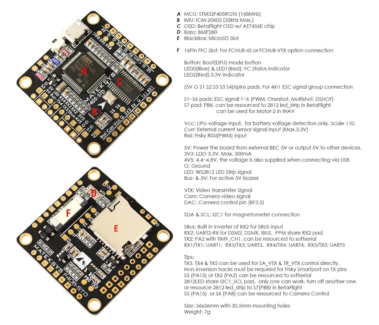 Dane techniczne Matek F405 STD