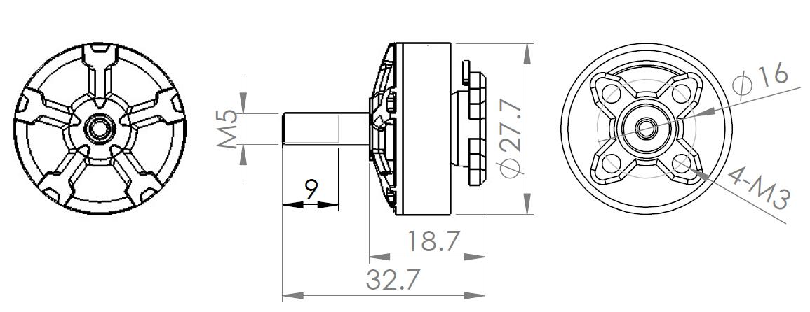 Wielkość i rozmiar silnika DYS Wu 2206