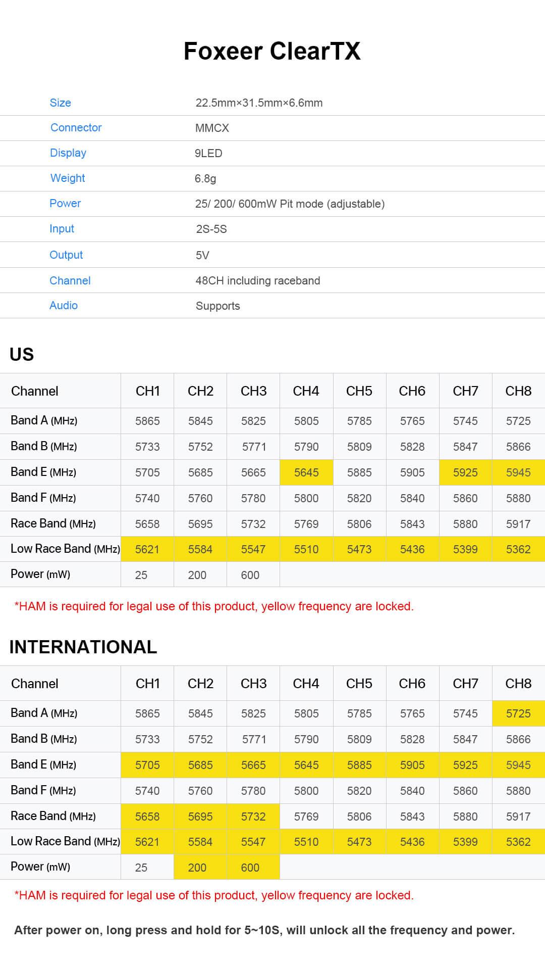 Dane techniczne Data dla ClearTX Foxeer VTX FPV