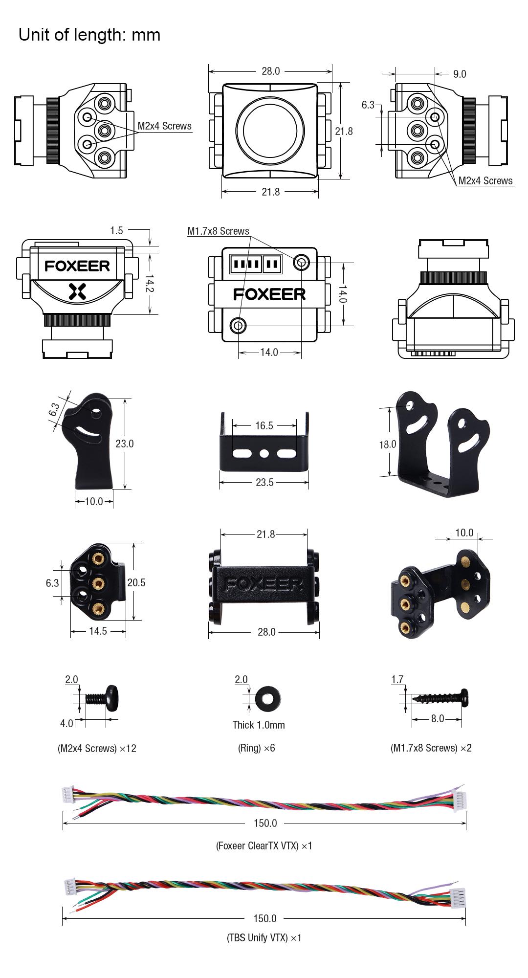 Rozmiary kamerki FPV Foxeer Predator V3