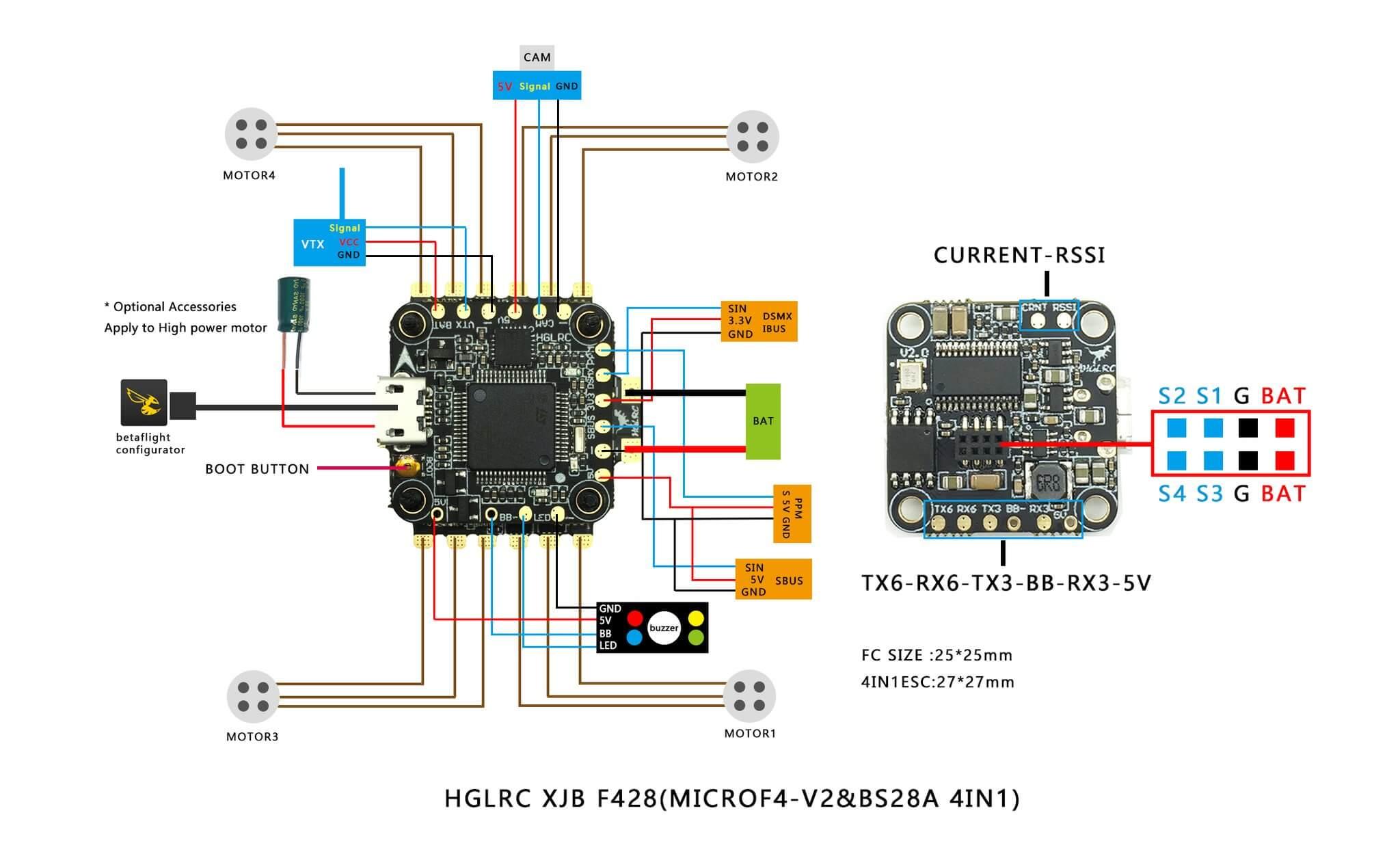 Sposob podlaczenia FC + ESC HGLRC XJB F428 V2 + BS28A