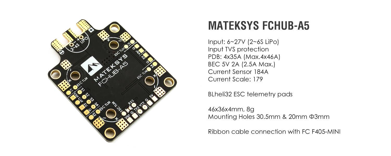 Matek FCHUB-A5 - Czujnik Napięcia 184A, BEC 5V 2A