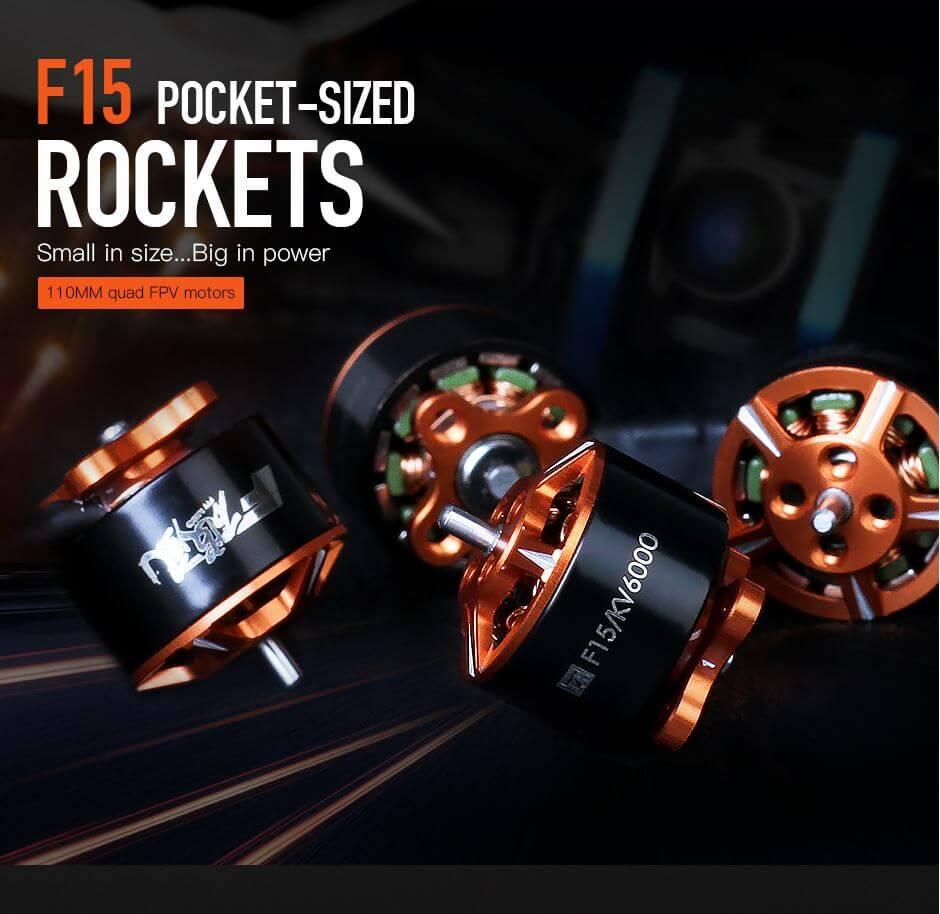 """Mały rozmiar i duża moc silnika F15 firmy T-motor. Rozmiar 1106 sprawdzi się idealnie z śmigłami 2"""" 2,5"""" oraz 3"""" w dronach FPV wielkości od 90 do 130mm"""