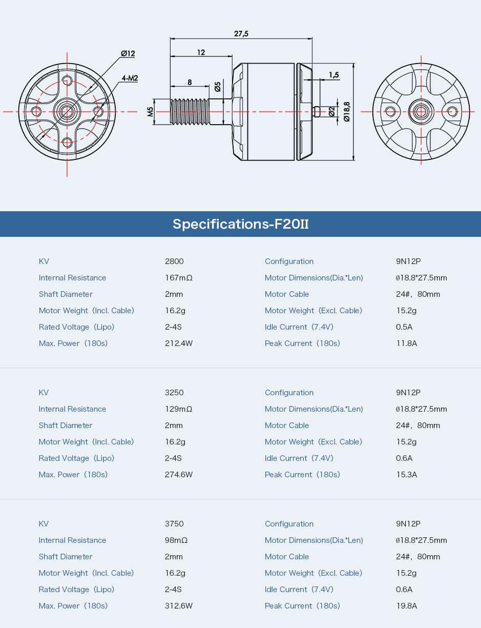 Rozmiar i specyfikacja silnika T-motor F20 II