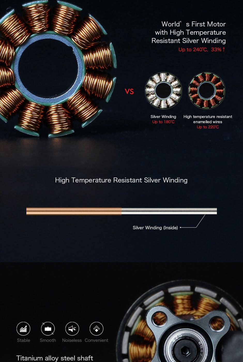 Wysoka odpornosc na temperatury oraz lepsze uzwojenie zapewniają wysokie osiągi