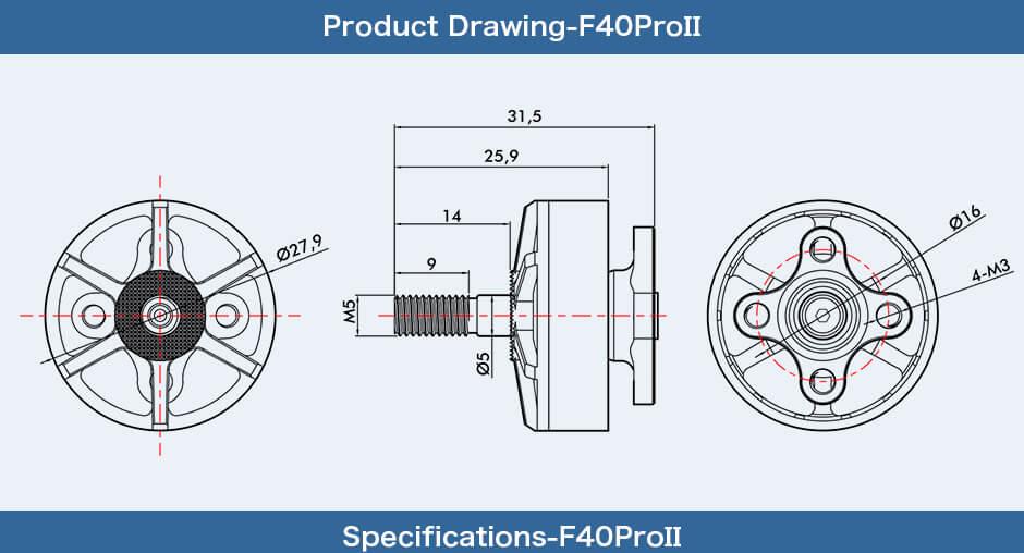 T-Motor F40 Pro II - wymiary