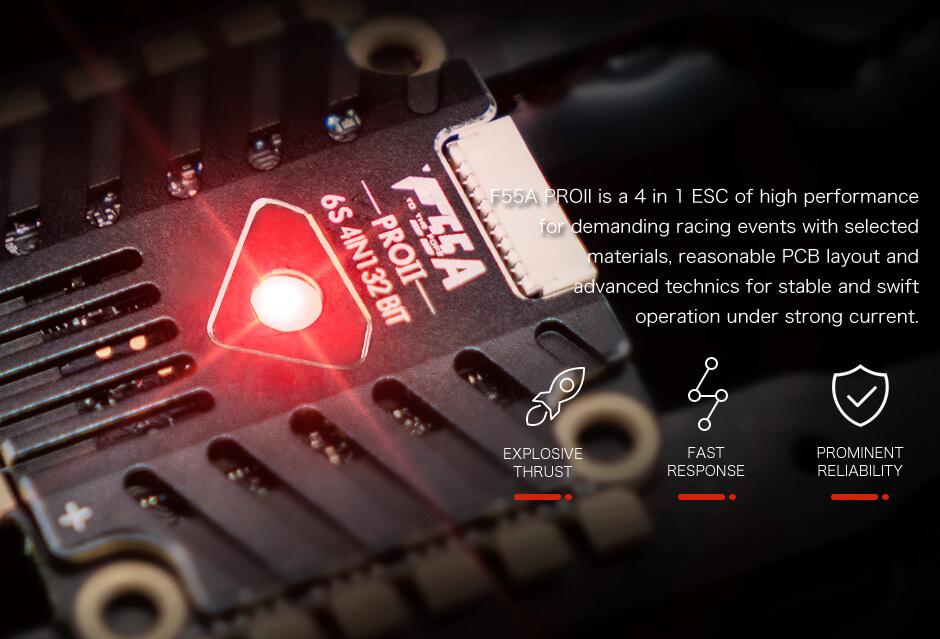 Najwyższej jakości regulator obrotów ESC do dronów typu racer i freestyle.