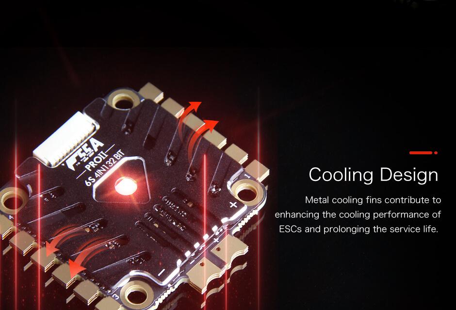 Ten ESC 4in1 posiada specjalny radiator, który idealnie chłodzi całą elektronikę
