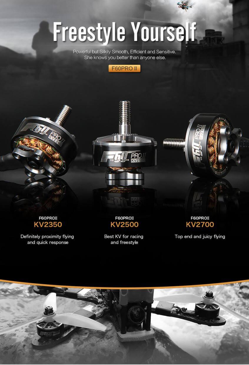 Silnik FPV F60 firmy T-motor o wielkości 2207 i do wyboru 1750kV / 2350kV / 2500kV / 2700kV