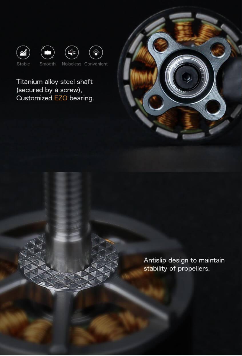 F60PROII ma łożyska EZO zapewniającą gładką pracę oraz antypoślizgowe mocowanie dla śmigieł.
