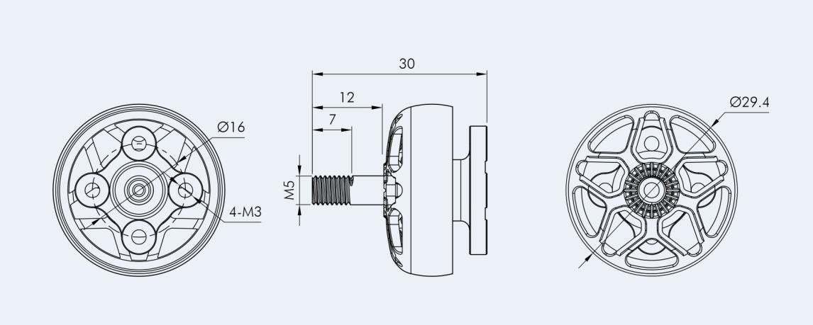 Wymiary silnika do drona wyścigowego FPV